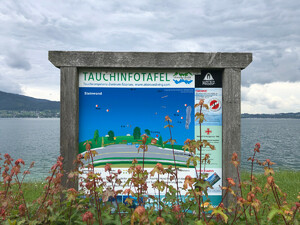 Badeplatz Seezugang Steinwand Bild 3